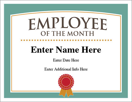 employee of the month certificate image