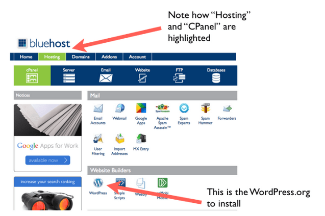 Adding WordPress at Bluehost image