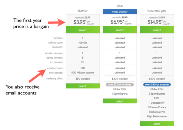 bluehost pricing options image