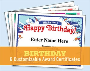 birthday certificates button