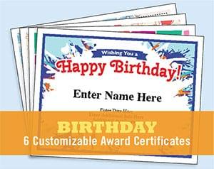birthday certificates button