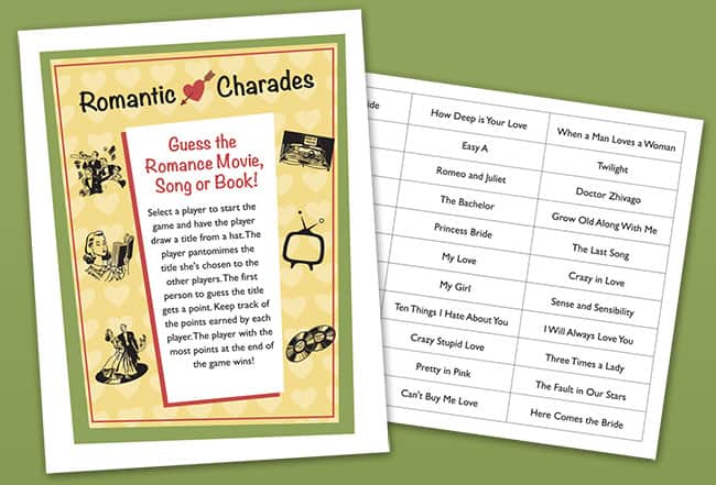 Romantic Charades shower game image
