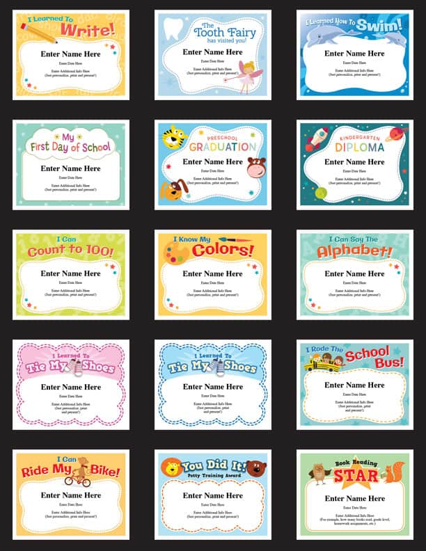 child milestones certificate templates