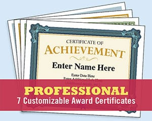professional certificate templates awards to recognize participation