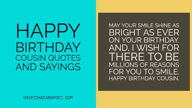 Happy Birthday Cousin Quotes And Sayings Greeting Card Poet