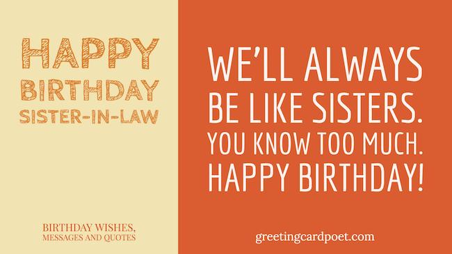 Happy Birthday Sister in Law – Funny Birthday Greetings for Sister