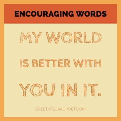 encouraging words - my world image