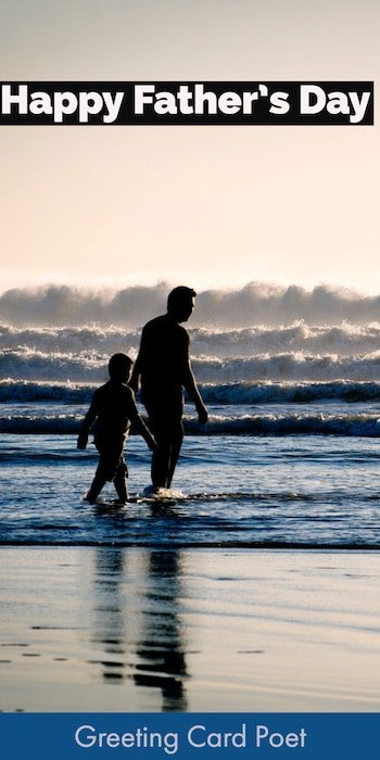 Dad and Son at beach - Happy Father's Day image