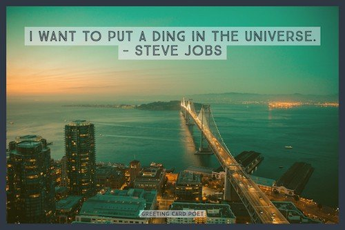 Steve Jobs quote on putting a ding in the universe image