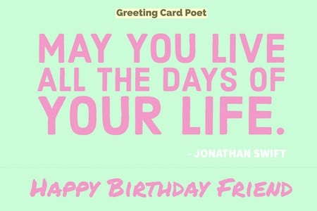 Jonathan Swift quote on birthdays image