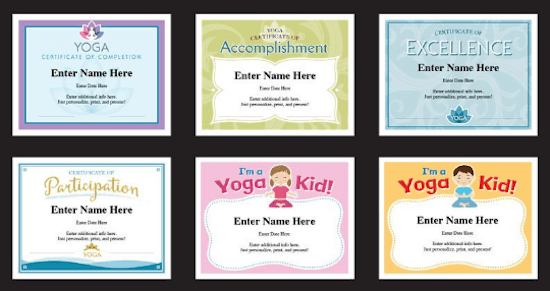 Editable Yoga Certificates For Adults And Kids Greeting Card Poet