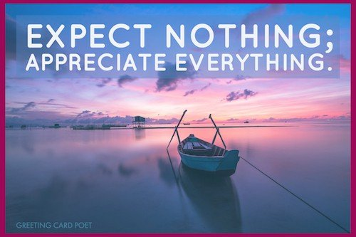 Expect nothing; appreciate everything image