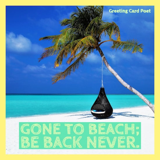 Gone to beach, be back never image