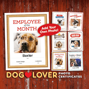 editable dog lover certificates image