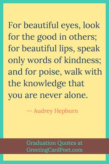Audrey Hepburn graduation quote