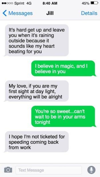 Sweet good morning texts image