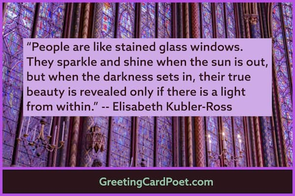 People are like stained glass windows quote image