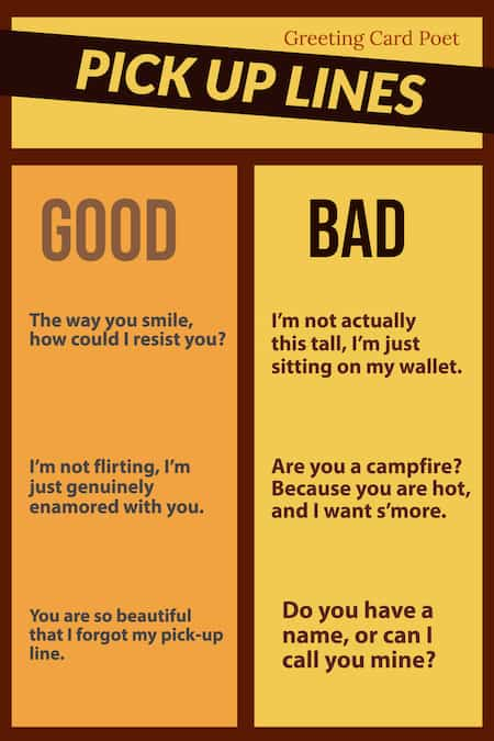 good and bad pick up lines chart image