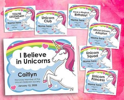 Cool unicorn certificates editable image