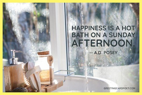 Happiness is a hot bath image