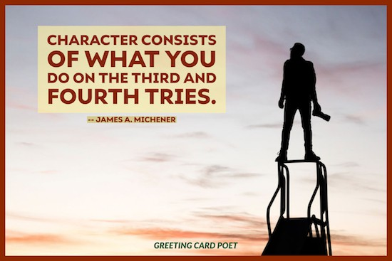James Michener quote on never giving up image