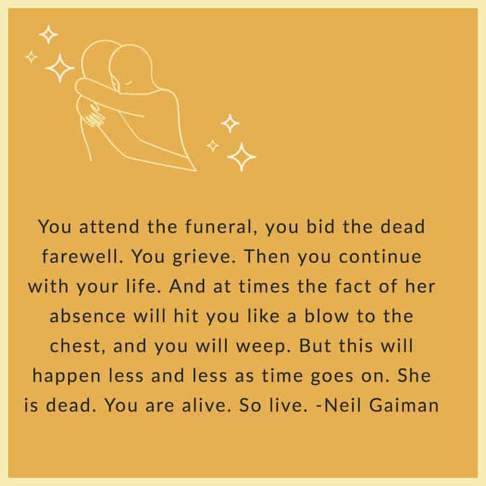 Neil Gaiman quote on funerals image