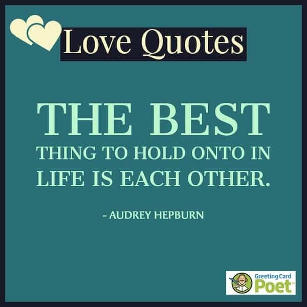 Audrey Hepburn quote on love image
