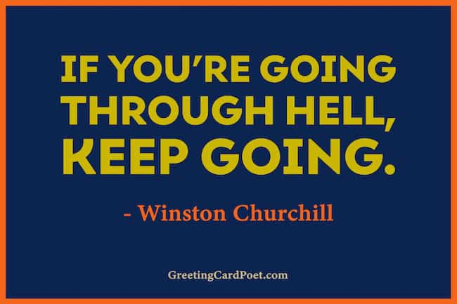 Winston Churchill quote on going through hell image