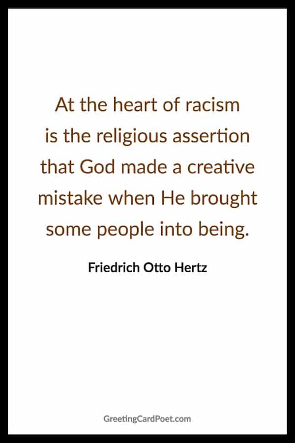 Heart of racism saying image