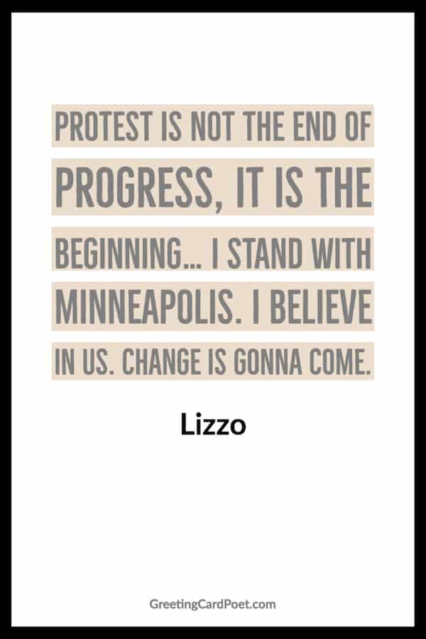 Lizzo quotation on Minneapolis protest image