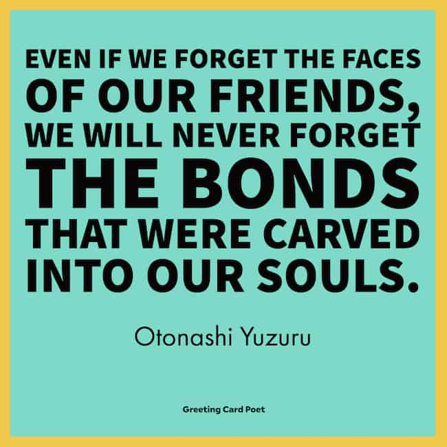 The bonds that were carved into our souls