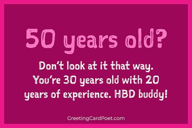 50 years old — Happy birthday best friend message