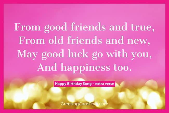 Happy birthday song extra verse