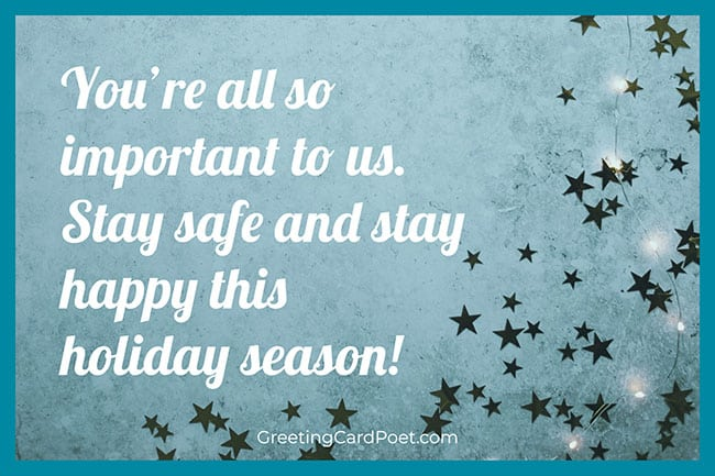 Stay safe - Merry Christmas blessings