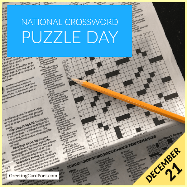 December 21 - National Crossword Puzzle Day
