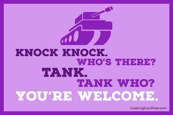 Tank - knock knock jokes