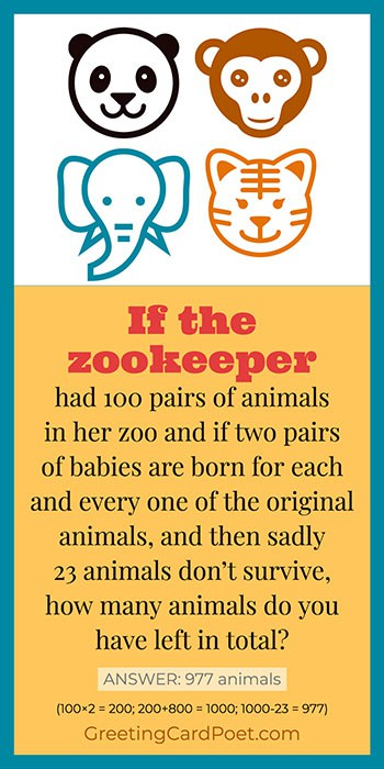 The Zookeeper math riddle meme
