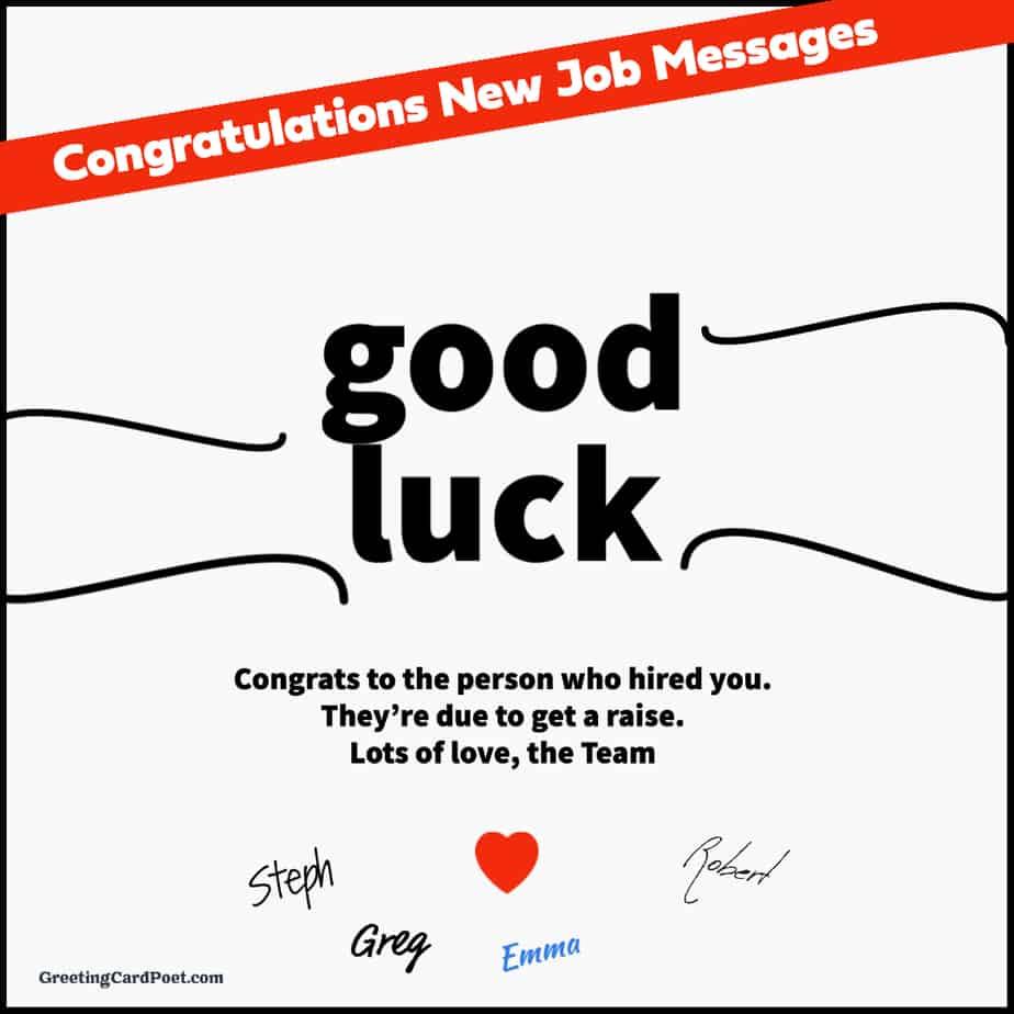 Congratulatons New Job Messages