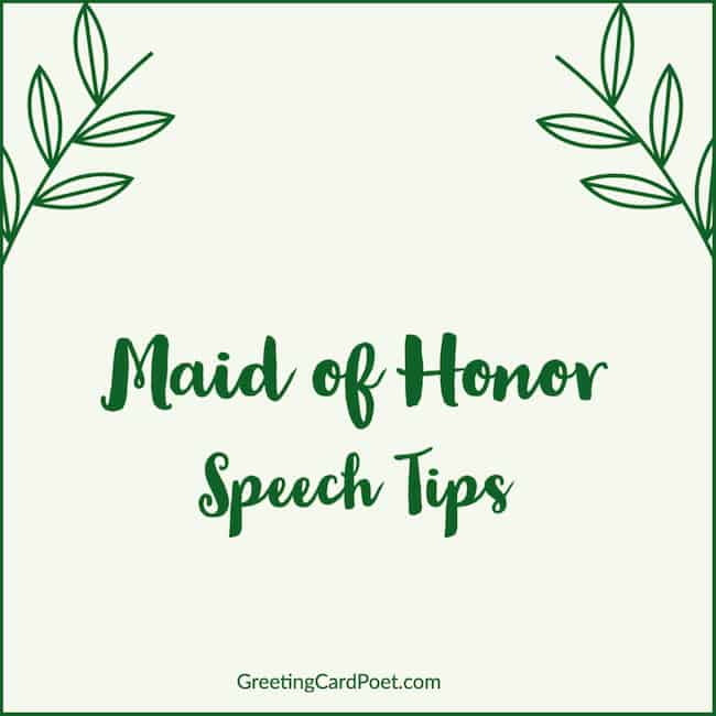 Speech tips for Maid of Honor